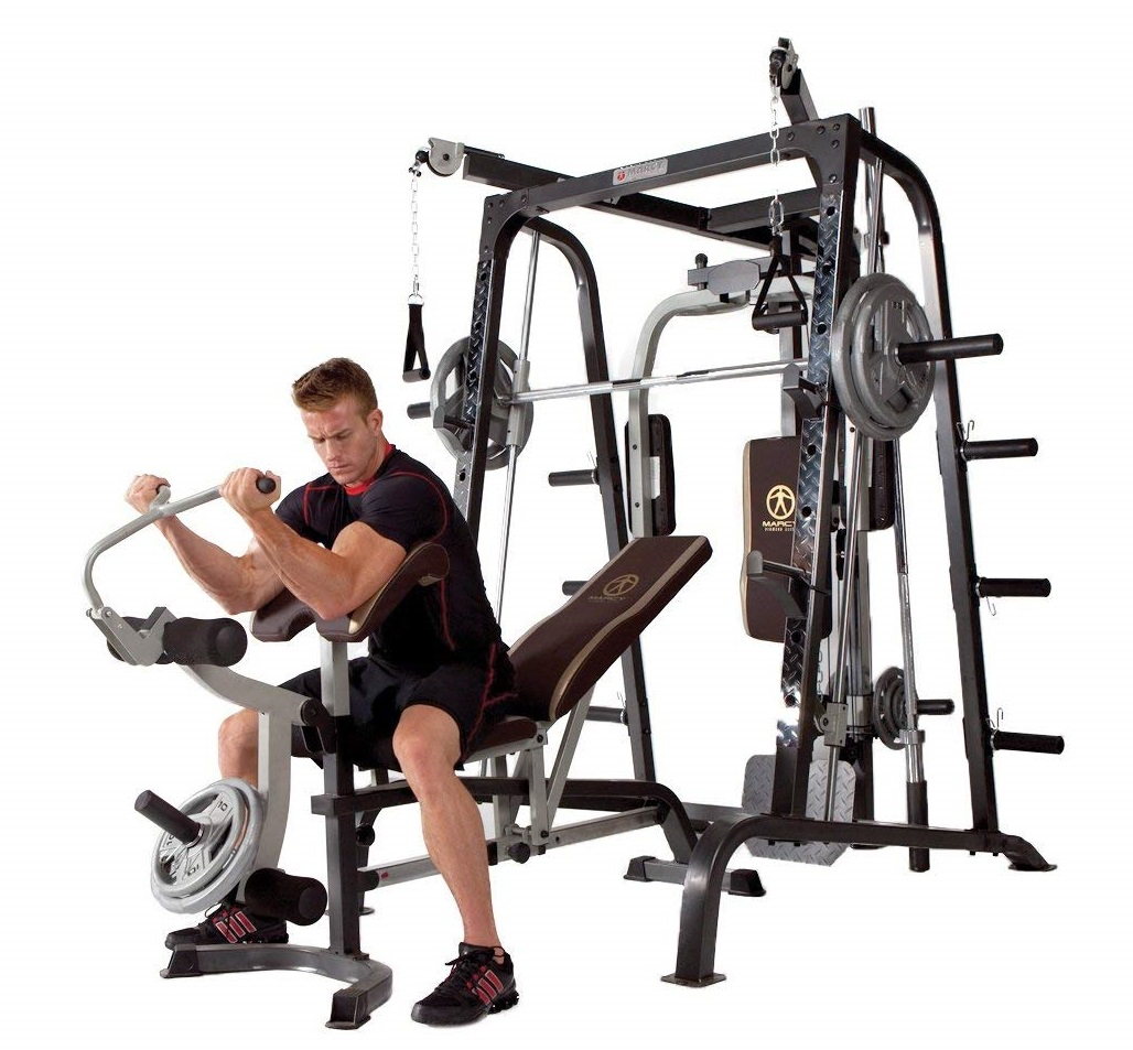 272kg Weight Load by Marcy Removable Weight Bench Linear Ball Bearings Marcy MD-9010G Home Gym Smith Machine Black
